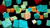 eğitim : Abstract cubes with letters on black
