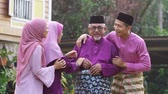 raya : Muslim family celebrating Eid Aidilfitri Stock Footage