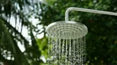 ligado : Outdoor shower head with water dripping from it, against a natural background of palm trees