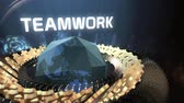 spojit : Conceptual of gears and world globe with teamwork text