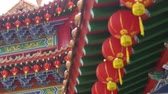 místní : Red lanterns hanging at local temple