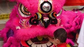 simbolismo : Child playing with lion dance performers