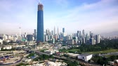lumpur : Aerial view of TRX building in Kuala Lumpur Stock Footage