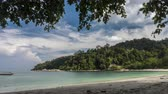 district : Time Lapse - Clouds movement and empty beach at Pangkor Island,,a resort island in Manjung District, Perak, Malaysia. It has a population of approximately 25,000. Camera pan right Stock Footage