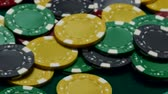 fogadás : Casino chips on table Stock mozgókép