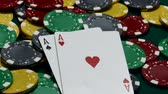 casino chips : Pair of aces on casino table Stock Footage