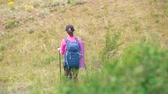 пеший турист : young woman hiker with blue bagpack hiking in beautiful mountains with green grass.