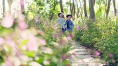flagstone : beautiful little asian girl and boy sister and brother running on flagstone path through flower blossom in park