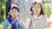 varinha : asian little girl and boy brother and sister blowing bubbles in park with parents watching from behind Vídeos