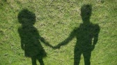 regozijo : Shadows man and girl over grass Stock Footage