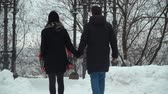 nošení : Young man and woman in winter coats walking in winter park covered with snow holding hands. Winter leisure of happy loving couple. Back shooting, rear view