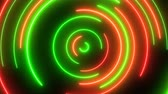 Christmas Colors Red and Green Abstract Circle Neon Light Wreath - 4K Seamless Loop Motion Background Animation