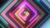 Neon Square Shapes Glow with Moving Electric Laser Light Beams - 4K Seamless Loop Motion Background Animation 動画素材