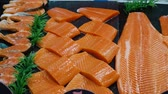 nutritious : Variety of fresh Sushi fish salmon at the store. Full HD food stock footage.