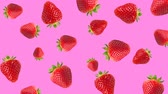 brožura : Abstract colorful animation - strawberry color background. Strawberry rotating - seamless loop.