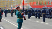 armored : SAMARA - MAY 5: Dress rehearsal of military parade during the celebration of the Victory in the Great Patriotic War (World War II) on the square on May 5, 2018 in Samara, Russia. Stock Footage