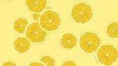 brochura : Abstract colorful animation - Lemon color background. Lemons rolling and falling down. Stock Footage