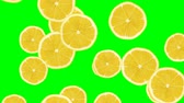 nonsense : Abstract colorful animation - Lemon color background. Lemons rolling and falling down. Stock Footage