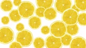 nonsense : Abstract colorful animation - Lemon color background. Lemons rotating - seamless loop.