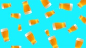 glass jugs : Abstract colorful animation - glass of beer color background. Glasses of beer.