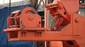 sorting : Part of the crane winch mechanism in motion. Special transport at construction site. Stock Footage