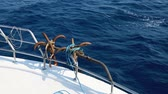 ancre chaine : Two anchors at boat, yacht sailing fast blue sea waves. Vidéos Libres De Droits