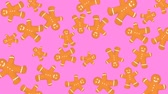nonsense : Abstract colorful animation - Gingerbread man shaped Christmas cookies background. Cookies rotating - seamless loop.