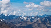 Beautifull landscape view of snow peaks of Caucasus mountains near mount Elbrus - the highest mountain in Europe