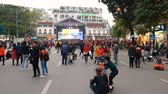 HANOI, VIETNAM - DECEMBER 15, 2018: Thousands of fans flocked to the streets of the capital Hanoi before the ASEAN Football Federation Championship final.
