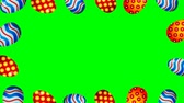 Easter eggs border frame. Easter eggs rotating - seamless loopable colorful animation.