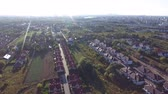 weather : Warsaw suburbs and Vistula river view from above