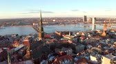 riga : Beautiful aerial view of the Riga old town during sunset or sunrise during sunny winter day in Latvia. Amazing Riga.