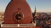daugava : Aerial panoramic view of the Riga Dome Cathedral during winter sunset. The main cathedral in the old town. Beautiful Latvia.