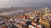 riga : Panoramic aerial view of Riga old town during winter Christmas day in Latvia Stock Footage