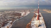 ancient tv : Aerial view of the TV tower in Riga, the capital of Latvia. The highest building in the European Union.