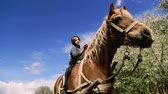 horse face : Caucasian boy teenager with a horse on nature. Rural child with a favorite pet horse.
