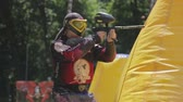 tática : June 2019, Vinnitsa, Ukraine - Paintball Championship. About sports, fun, action, war, fighting, sports, paint, race, tournament, playground, weapons, adrenaline, game