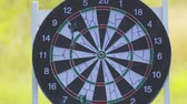 дартс : The target of the game is darts with darts that hit the target. Darts game on the street in the park.