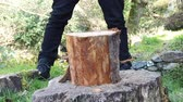 Slow motion of a lumberjack chopping wood with an axe