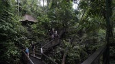 BALI, INDONESIA - OCTOBER 2017: Tourists at Sacred Monkey Forest, Ubud Indonesia