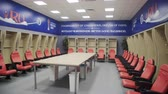Russia, Kazan - May 18, 2018: Locker room in Kazan Arena stadium Fifa world cup Stock Footage