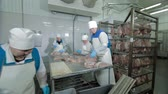 butchers : Russia, Kungur - May 2017: Workers Thread Meat on the Metal Stick