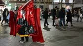 islam : Istanbul. A man with the Turkish flag.