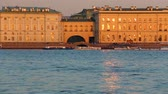 vessel traffic : Riverside view of Winter Palace,Winter groove, sundown time. Saint-Petersburg
