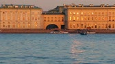 sulco : Riverside view of Winter Palace,Winter groove, sundown time. Saint-Petersburg