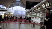 boarding pass : People in line to check-in counter, early morning in Pulkovo airport