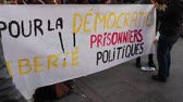 remény : TOULOUSE, FRANCE - DECEMBER 9,2017: Mobilization for the rights of the Catalan people.Inscription in english: For democracy freedom political prisoners.
