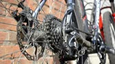 sprocket : New cassette with gears and chain on the rear wheel of old gray bike, a new transmission is working
