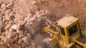 şantiye : Dump truck being loaded with soil by shovel. Construction machinery working at the construction site