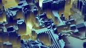 mikroişlemci : Abstract technological background made of different element printed circuit board and flares. 3d rendering 4k